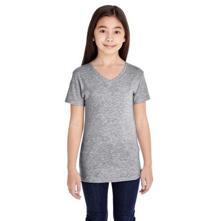 A Product of LAT Girls' V-Neck Fine Jersey T-Shirt - HEATHER - S [Saving and Discount on bulk, Code Christo] - Pink Discount