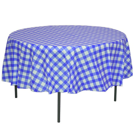 Exquisite 12 Pack Blue & White Gingham Plastic Tablecloth, 84 Inch Round (Blue Gingham Plastic Tablecloth)
