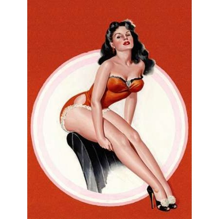 Mid-Century Pin-Ups - Eyeful Magazine - Brunette in a Red Bathing suit Poster Print by  Peter Driben