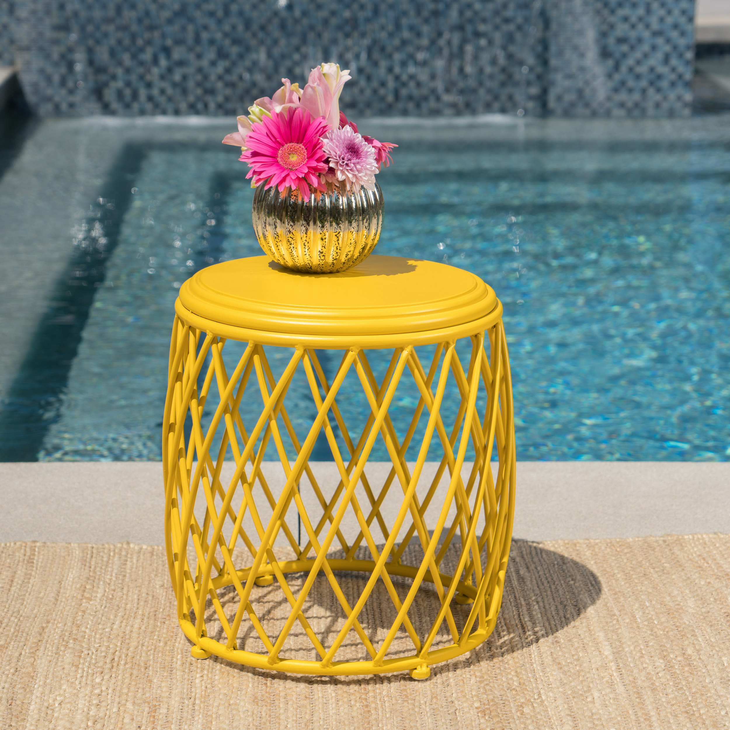 Alabama Outdoor 15 Inch Lattice Iron Side Table,Yellow