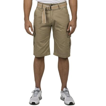 Vibes Men Khaki Cotton Canvas Cargo Shorts Matching Belt 13