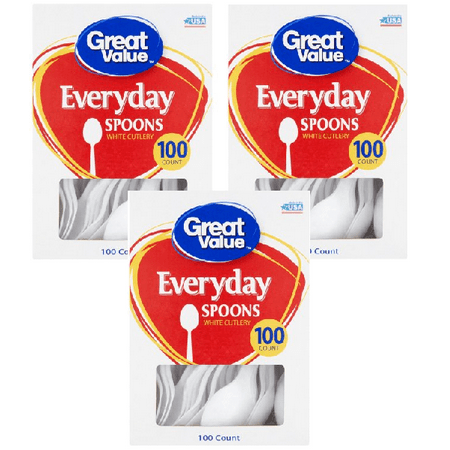 Great Value Everyday White Spoons, 100 Count