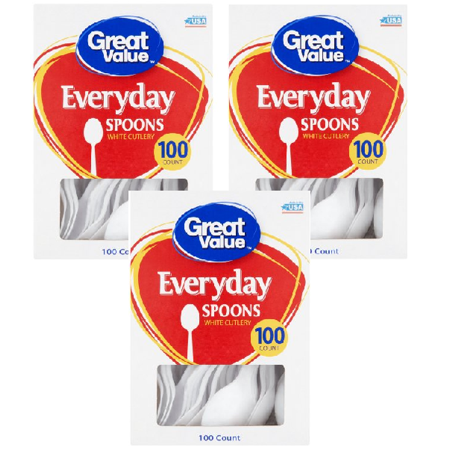 Great Value Everyday White Spoons, 100 Count (Sage Green Plastic Spoons)