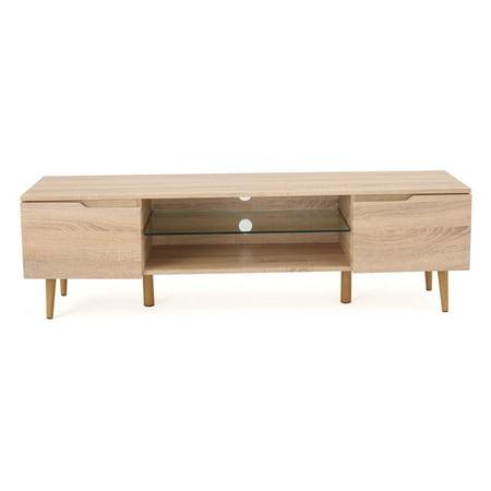 Wood TV Stand in Oak Finish