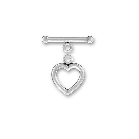 Sterling Silver Plain Heart Shaped Jewelry Toggle Clasp #13-14mm … 12 Sterling Silver Toggle Clasp