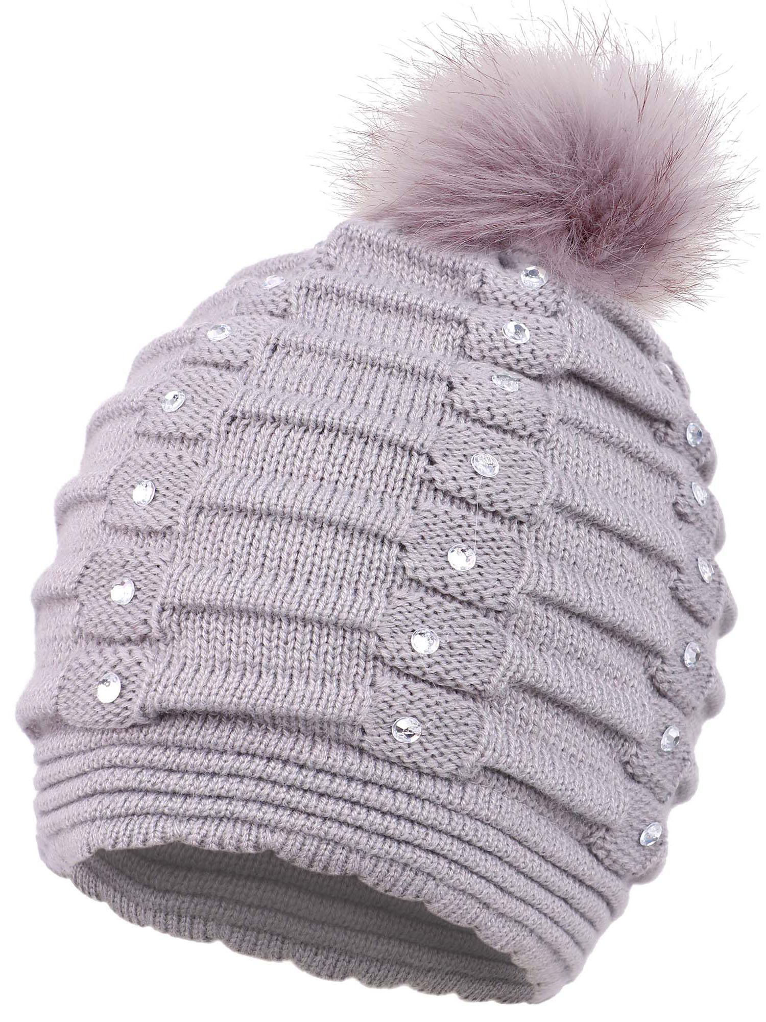 eeb3f2ac7c8 BASILICA - Beanie for Women Winter Warm Knitted Sequins Pompom Beanie Hat  Grey - Walmart.com