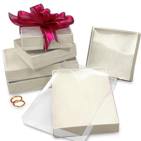1 White Jewelry Boxes (White Jewelry Boxes with Clear Lid 2-5/8