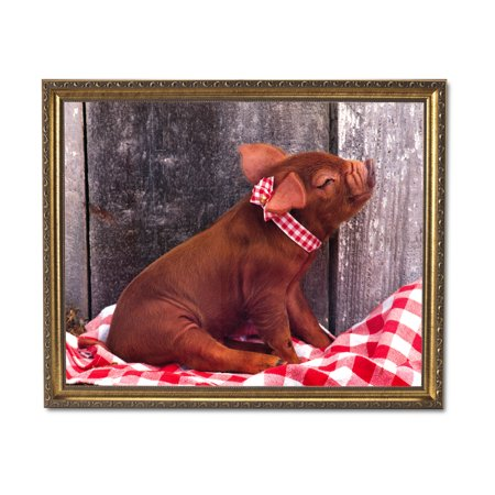 Red Pig On Checkered Board Blanket Kitchen Wall Picture Gold Framed Art Print (Pig Picture)