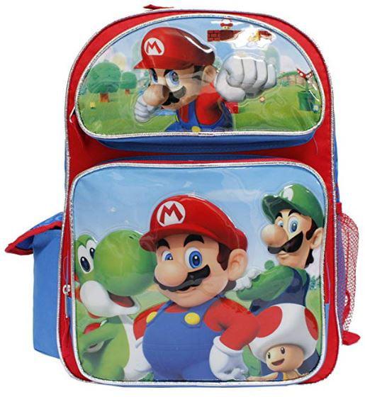 Super Mario Bros New Mario & Luigi Large Red & Blue Boys' School Backpack