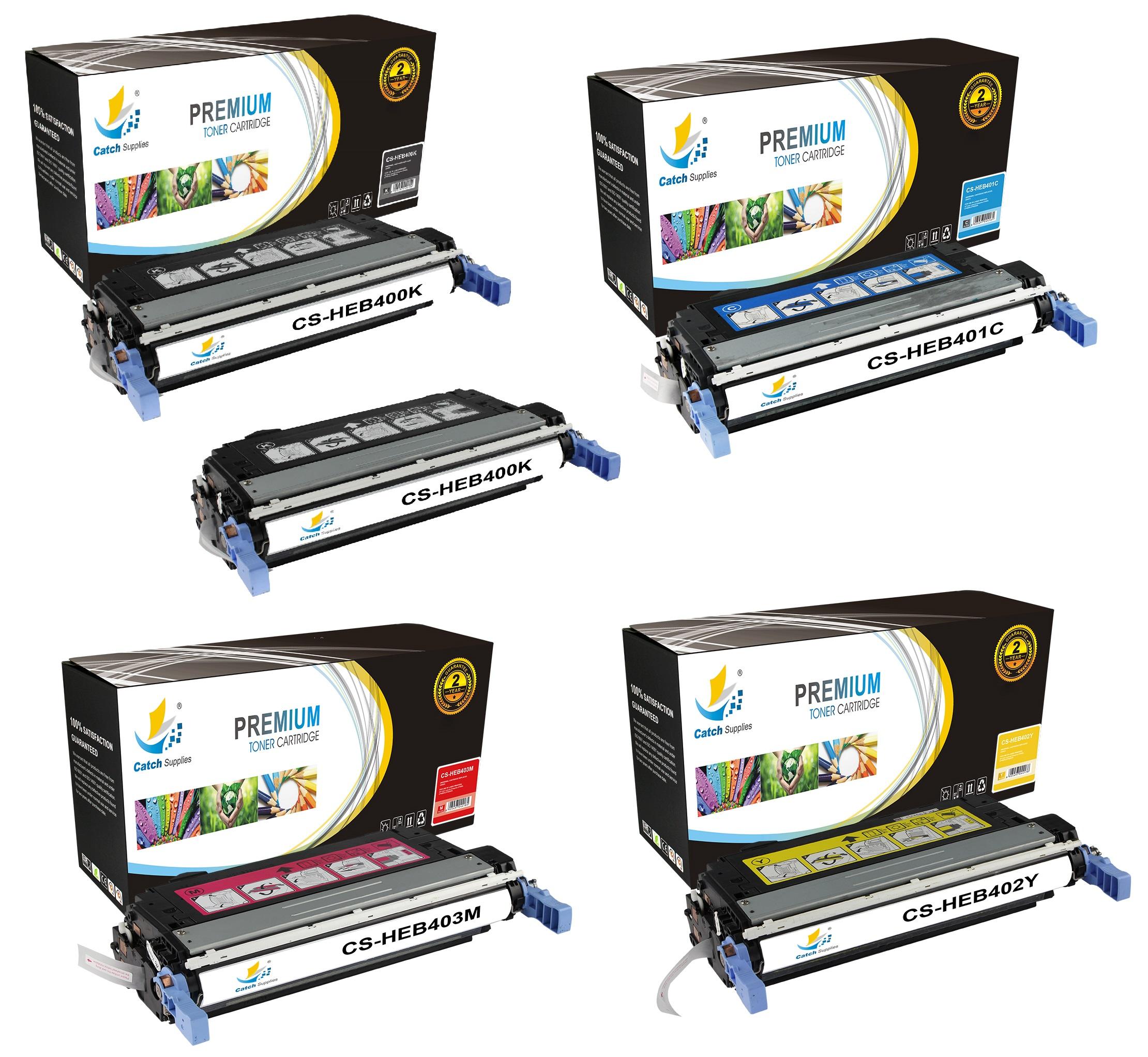 Catch Supplies 642a 5 Pack Premium Cb400a Cb401a Cb402a Cb403a Hp Color Laserjet Cp4005 Cyan Cartridge Replacement Toner Compatible With Enterprise Cp4005n