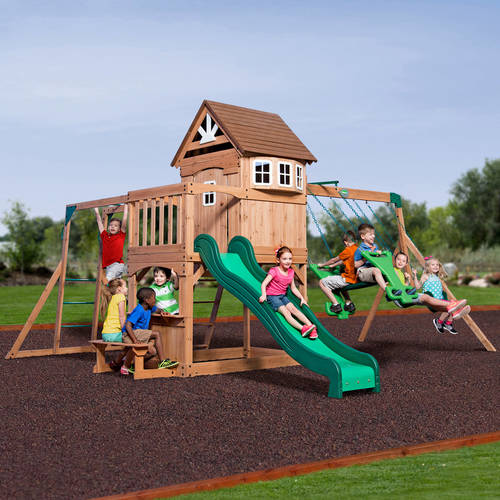 Backyard Discovery Montpelier Cedar Wooden Swing Set - Walmart.com