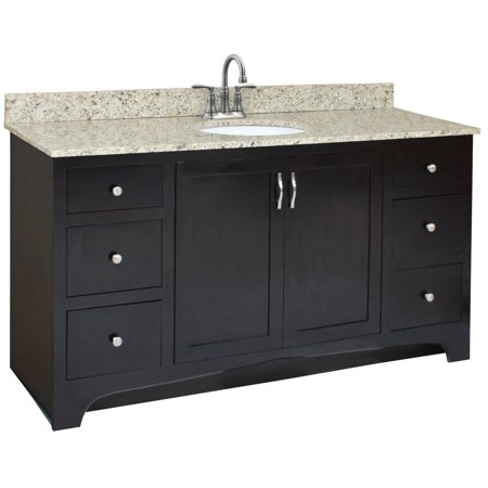Espresso Finish Vanity - Design House 541433 Ventura Unassembled 2-Door 4-Drawer Vanity without Top, 60