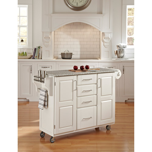 home styles large kitchen cart, white / salt & pepper granite top