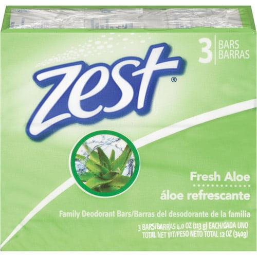 Zest Fresh Aloe Family Deodorant Soap, 4 oz, 3ct