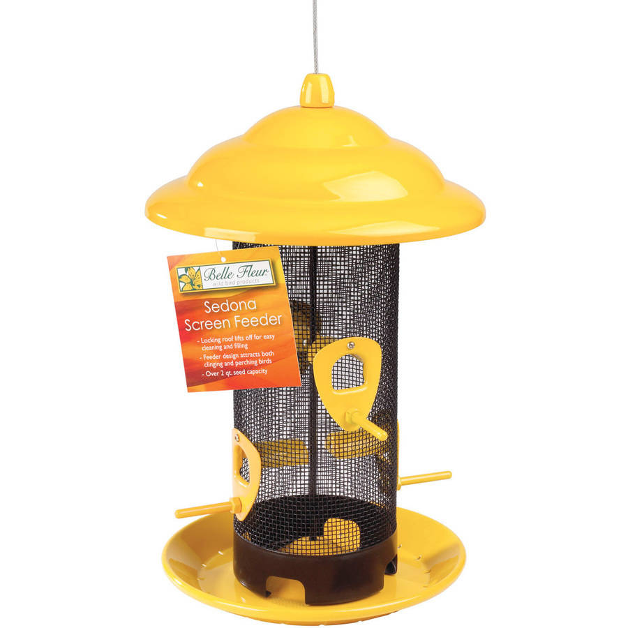 Belle Fleur Sedona Screen Bird Feeder with 4 Feeding Ports, 2.6 lb Seed Capacity