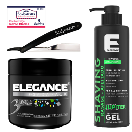 Barber Groom Kit Elegance Shaving & Hair Gel with Scalpmaster Razor