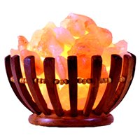 Salt Gems Himalayan Salt Lamp with Natural Rock Salt Chunks in Rosewood Round Shape Basket, 6 ~ 8 LB, 8 Inch and Electric-Cord Included