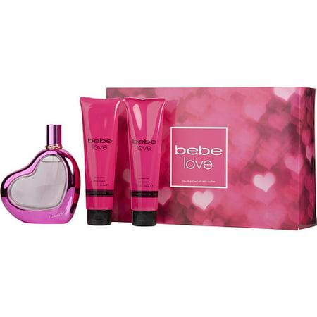 WOMEN EAU DE PARFUM SPRAY 3.4 OZ & BODY LOTION 3.4 OZ & SHOWER GEL 3.4 OZ BEBE LOVE (Body De Bebe)