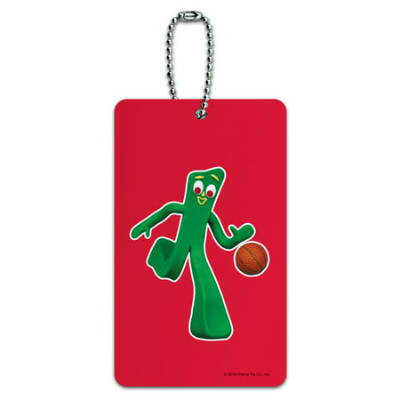 Sporty Gumby Basketball Player Clay Art Luggage Card Suitcase Carry-On ID Tag