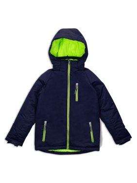 Arctic Quest Boy's Windproof Waterproof Winter Ski Jacket - Size 14-16, Navy/Green