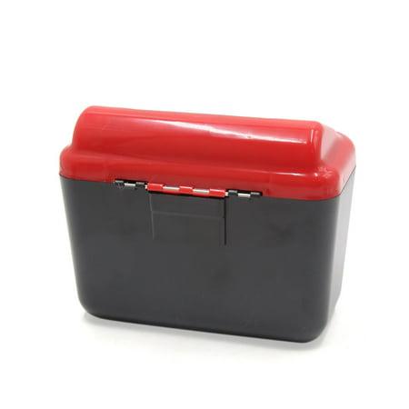Black Red Plastic Rectangle Car Trash Rubbish Bin Garbage Dust Case Holder Box - image 1 de 2
