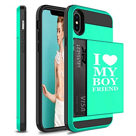 Wallet Credit Card ID Holder Shockproof Protective Hard Case Cover for Apple iPhone I Love My Boyfriend (Seafoam-Green, for Apple iPhone Xs