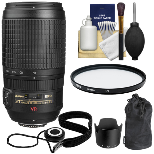 Nikon 70-300mm f/4.5-5.6G ED IF AF-S VR Zoom Lens with + UV Filter + Kit for D3200, D3300, D5300, D5500, D7100, D7200, D750, D810 Cameras