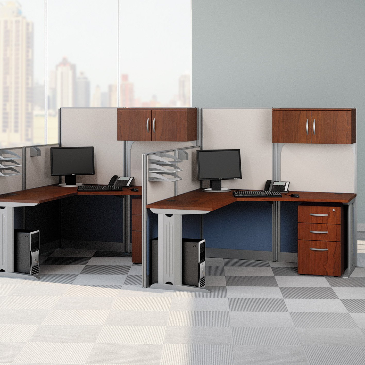 Bush Office In An Hour L Shaped Double Workstation Computer Desk With