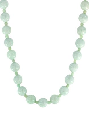 Natural Jade and 14K Yellow Gold Necklace