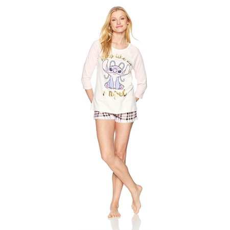 Disney Women's Lilo & Stitch Long Sleeve 2 Piece Pajama Shorts Set, Ohana Means Family, Size: S - Disney Luxe Pajamas