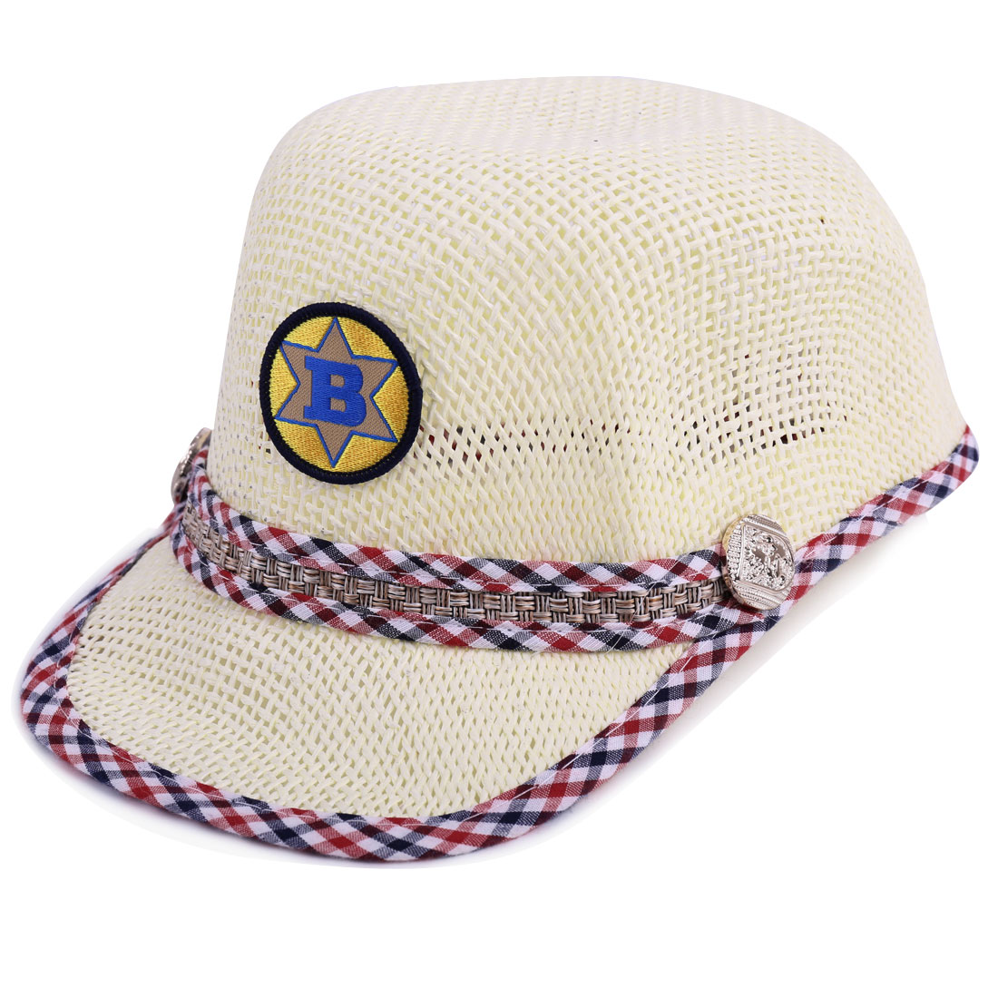 Tasharina Unisex Children Button Decor Stitching Straw Baseball Cap Off-White