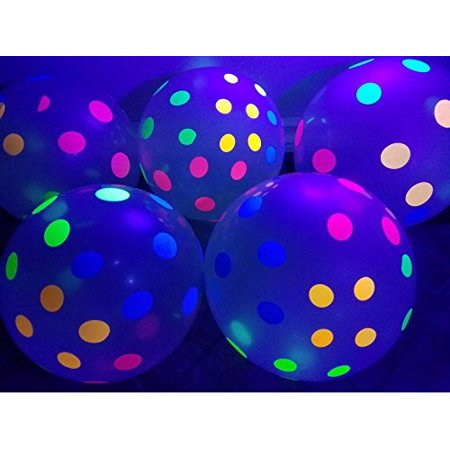 Glow In The Dark Water Balloons (Blacklight Party Balloons Clear Balloons with Polka Dots that Glow in the Dark under Blacklight  25 Pack of 11 inch Clear)
