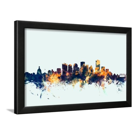 Edmonton Canada Skyline Framed Print Wall Art By Michael Tompsett ()