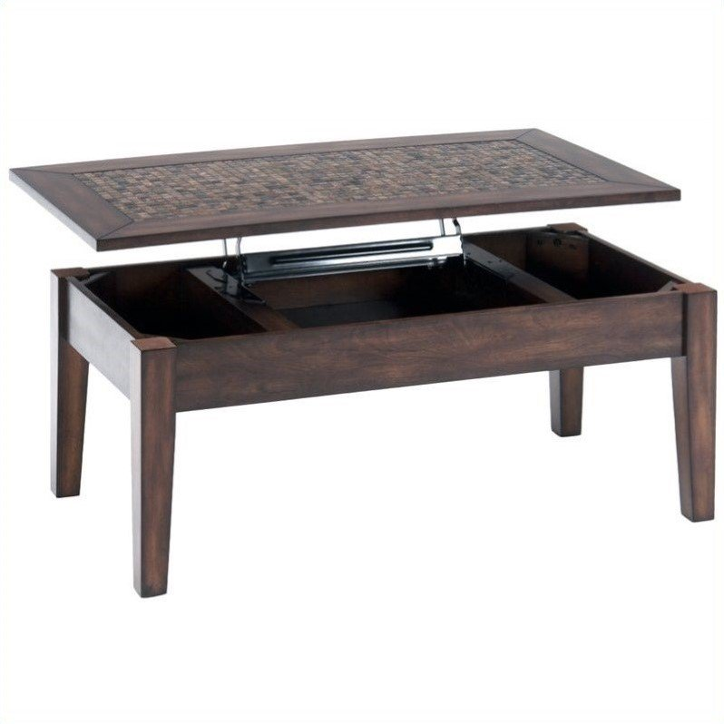 Jofran 698 Series Lift Top Cocktail Table with Tile Inlay in Baroque Brown by Jofran