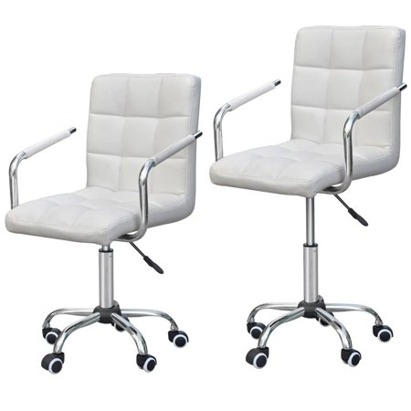 Modern PU Leather Midback Adjustable Executive Office Chair-White