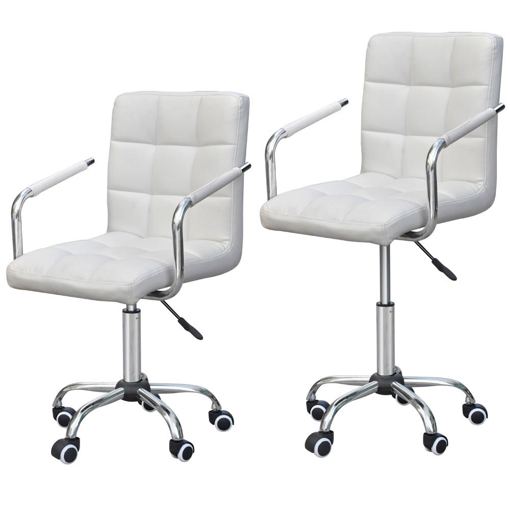 Merveilleux Yaheetech Rolling White Modern Ergonomic Swivel Leather Office Chairs  Computer Chair Executive Home Office Furniture On