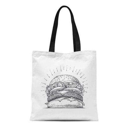 LADDKE Canvas Bag Resuable Tote Grocery Shopping Bags Hamburger Burger Great Delicious Sandwich Vintage Sketch Food Doodle Salad Tote Bag