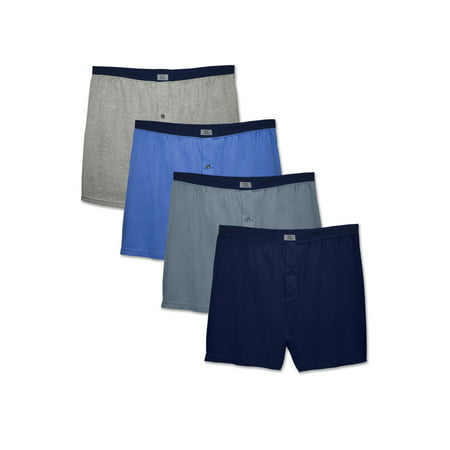 Fruit of the Loom Mens Assorted Knit Boxers, 4 Pack, Extended Sizes