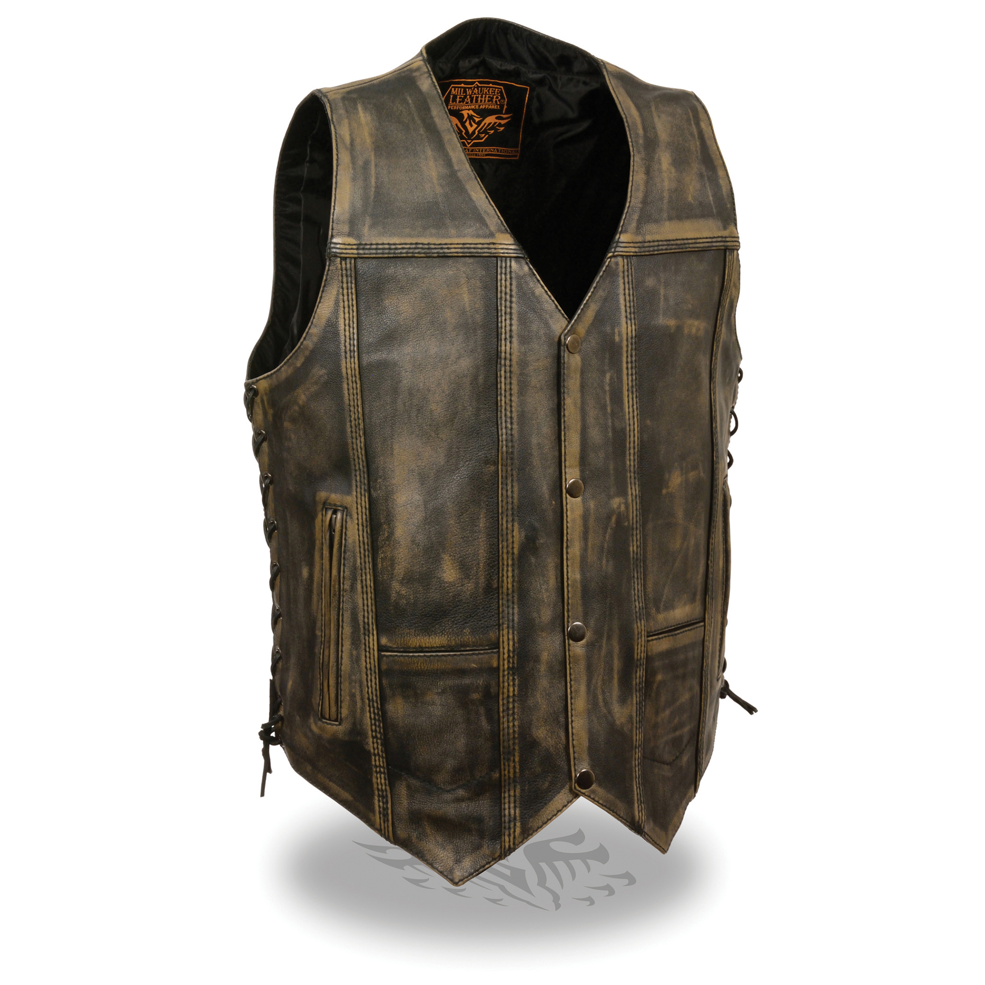Mens Distressed Leather 10 Pocket Vest