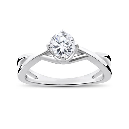Genuine Pear Diamond Solitaire (1/2 Ct Round Solitaire Genuine Diamond Vintage Engagement Ring 14K White Gold )