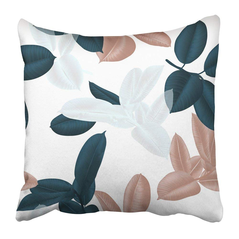 WOPOP Bronze Dark Green White and Brown Ficus Elastica Leaves on Light Pink Collage Greenery Foliage Bush Pillowcase 18x18 inch