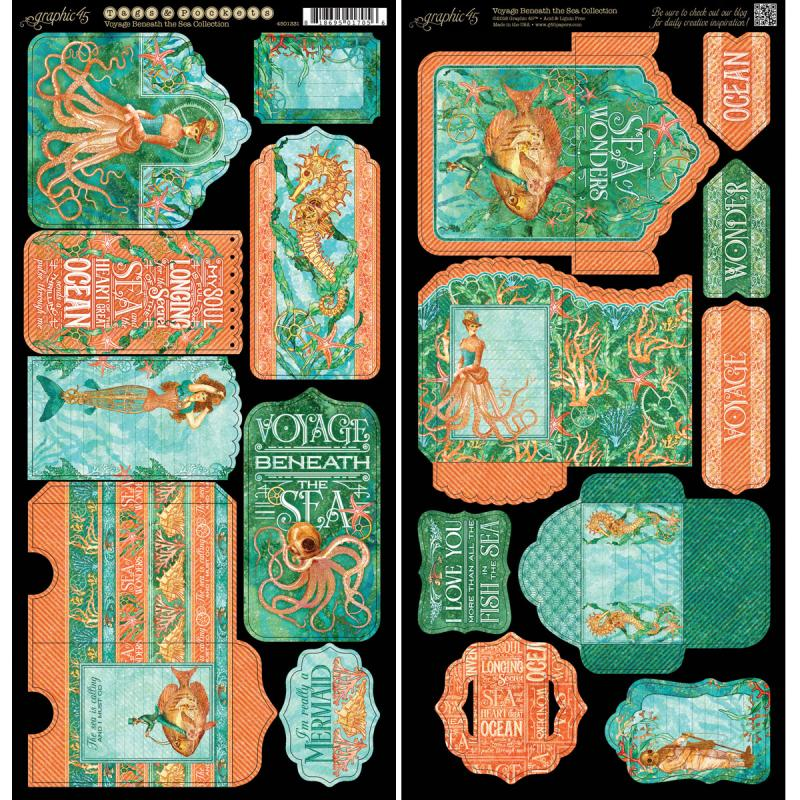 "Voyage Beneath The Sea Cardstock Die-Cuts, 6"" x 12"" Sheets, 2pk, Tags and Pockets"