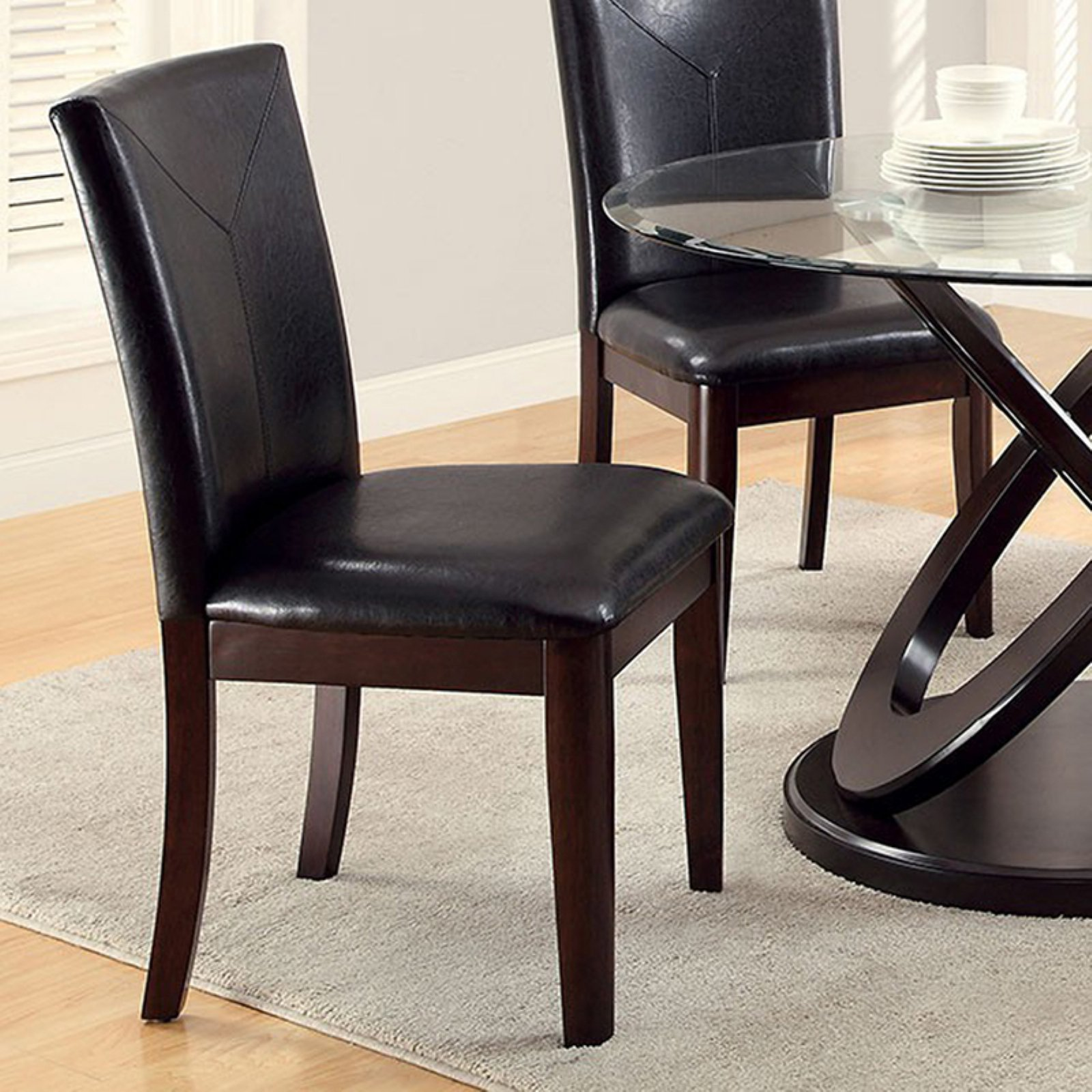 Atenna I Contemporary Side Chair Withdark Brown, Set Of 2