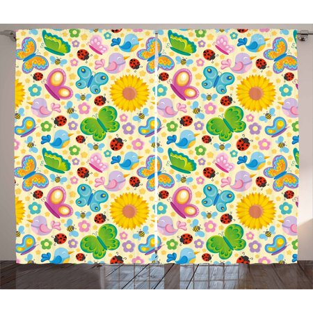 Element Spring - Nursery Curtains 2 Panels Set, Spring Themed Vivid Colored Seasonal Elements Blooming Flowers Ladybugs Bees Birds, Window Drapes for Living Room Bedroom, 108W X 108L Inches, Multicolor, by Ambesonne