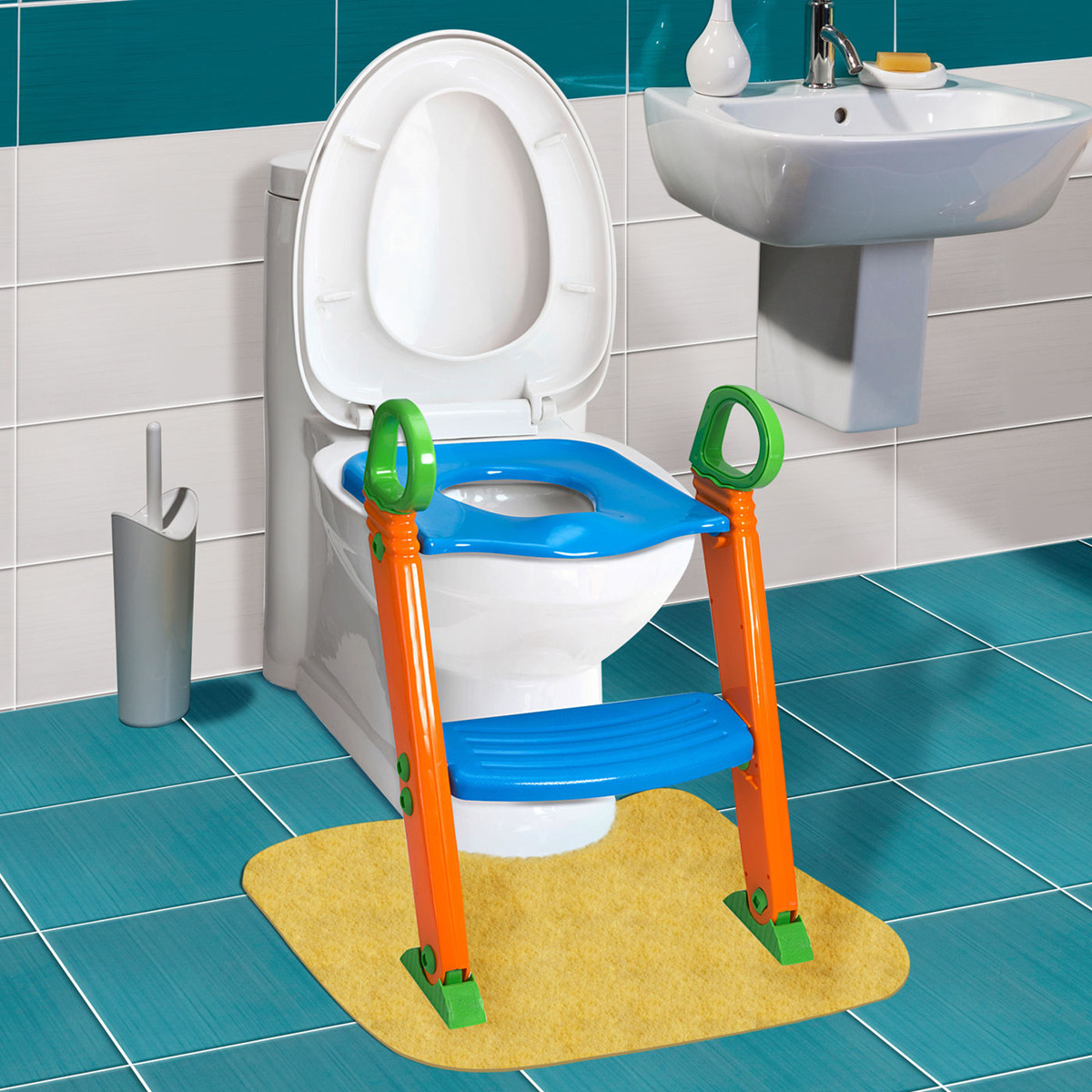 Non-Slip Kids Toilet Potty Soft Padded Seat Step Up Training Stool Chair Toddler Ladder by