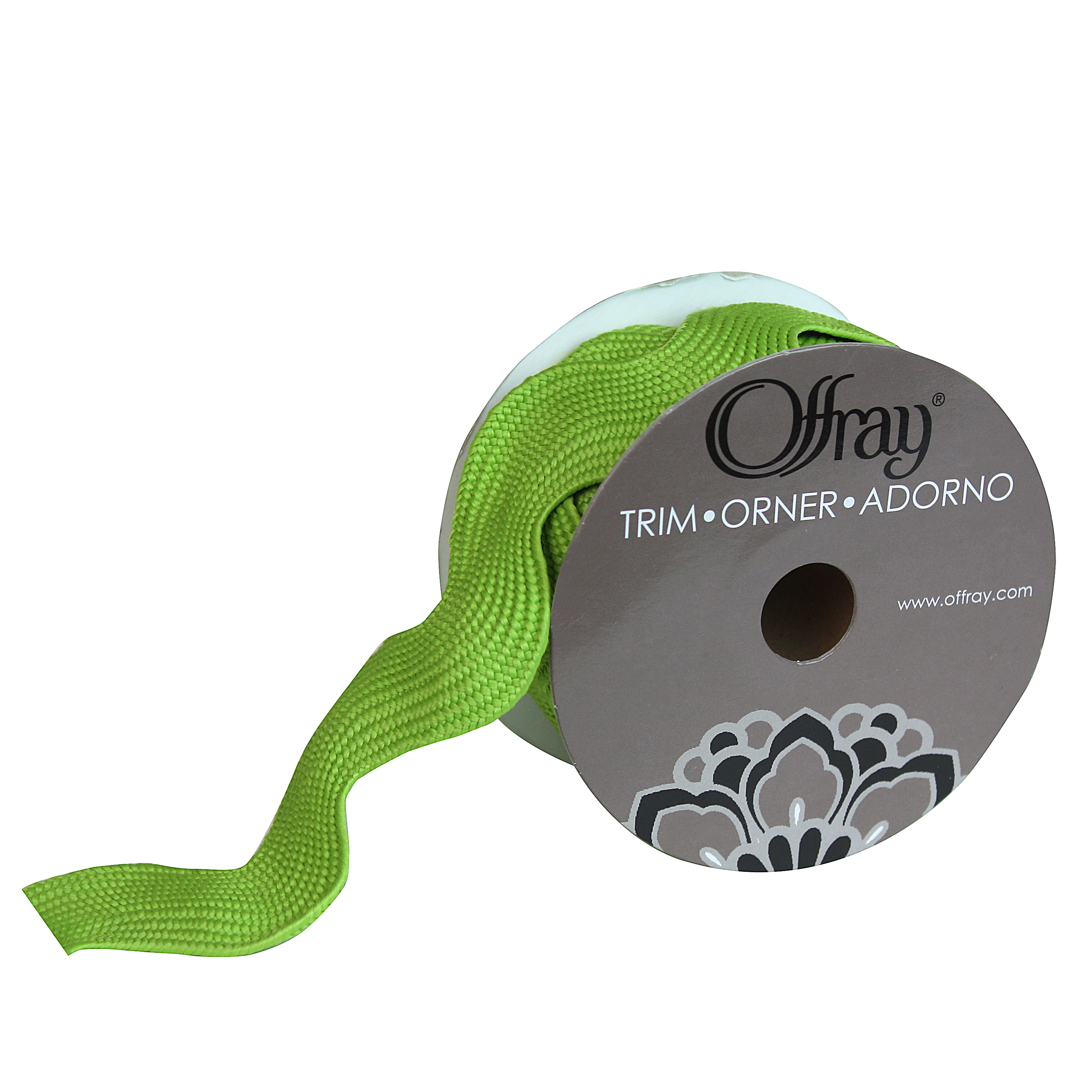 OFFRAY TRIM GREEN JUMBO RIC RAC  1.5 INCHES X 3 YARDS