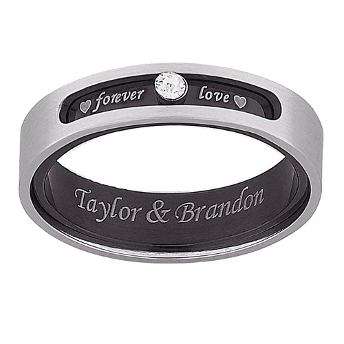 """Personalized Everscribe """"Forever Love"""" CZ Titanium Spinner Ring"""