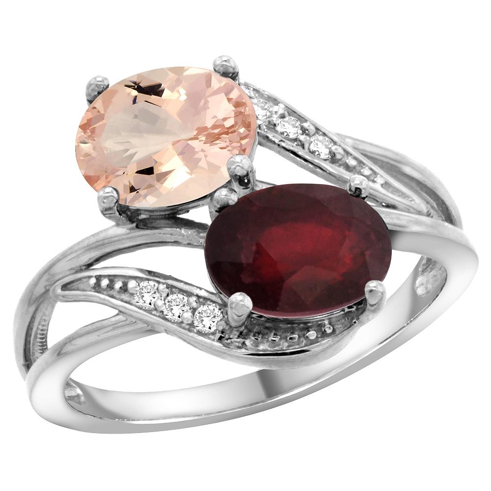 14K White Gold Diamond Natural Morganite & HQ Ruby 2-stone Ring Oval 8x6mm, size 6 by Gabriella Gold