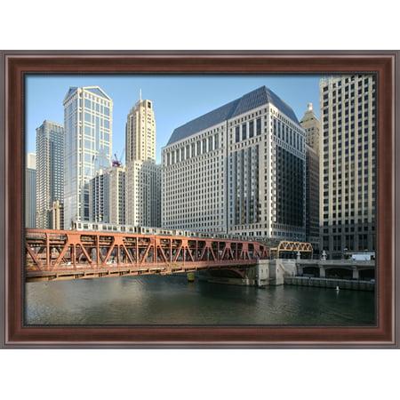 Wells Street Bridge  Chicago 38X28 Large Walnut Ornate Wood Framed Canvas Art