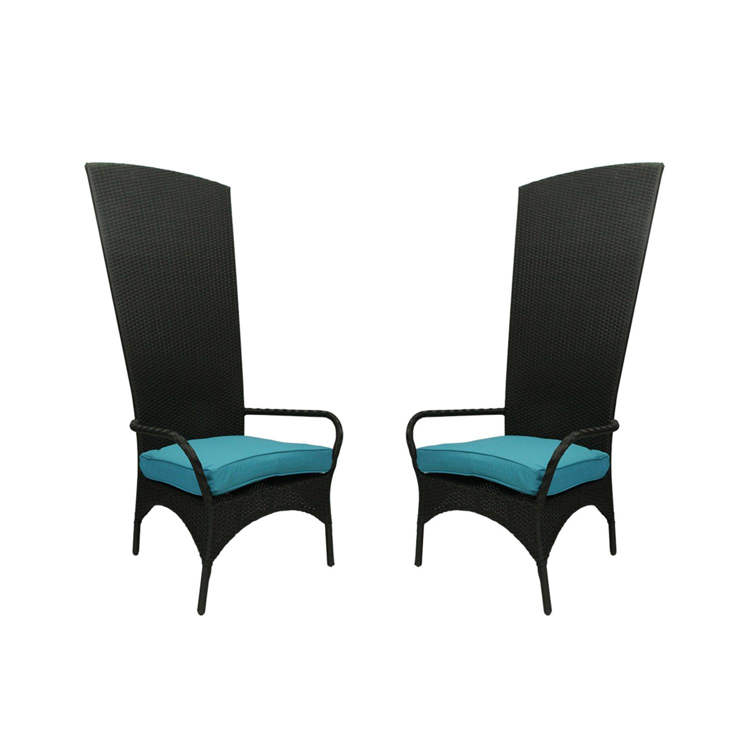Set of 2 Black Resin Wicker Outdoor Patio King Chairs Blue Cushions by CC Outdoor Living